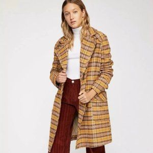 Free People Ciao B check plaid yellow coat size S